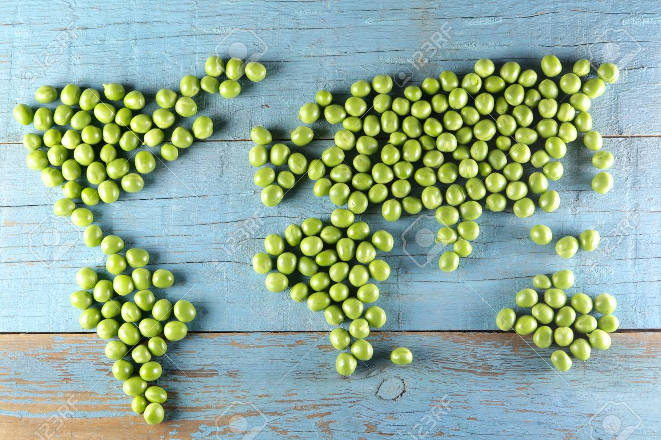 world map made form  peas